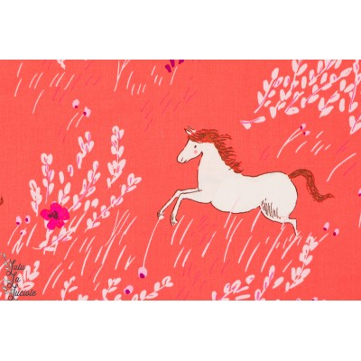Tisu Popeline Summer ride saraj jane michael miller magic chevaux rouge