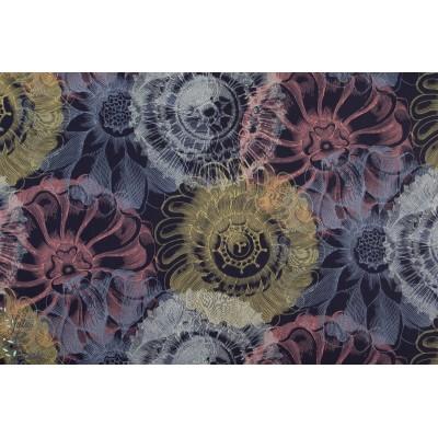 Popeline fine Bio Vintage Flowers Bleu cpauli fleur graphique violet