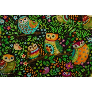Popeline Spring Awakens Owls Black