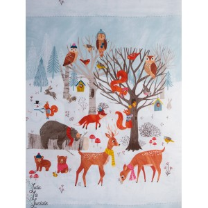 "Panneau Popeline  """"Dreaming of Snow, animaux hiver biche foret renard patch"