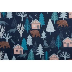 Popeline Paysage D'hiver clothworks ours maison forêt bleu