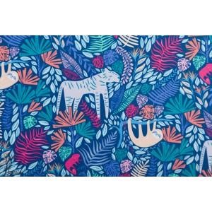 Popeline AGF junglen jolly Selva animaux jungle bleu