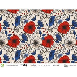 Modalsweat bio Maris lillestoff fleur petunia bleu rouge enemenemeins