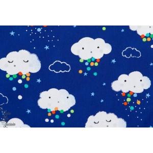 tissu popeline couture Nuages , Pluie colorée fond Bleu michaell miller enfant bébé