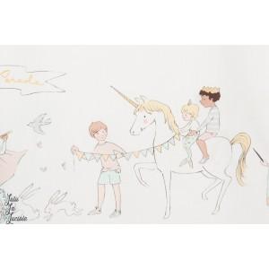Tissu Popeline Parade en Blanc
