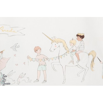 Tissu Popeline Parade en Blanc dragon fée enfant michael miller