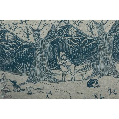 Jersey bio Winterwald Lillestoff hiver animaux forêt susalabim
