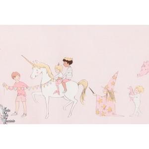 Tissu Popeline Parade en Rose