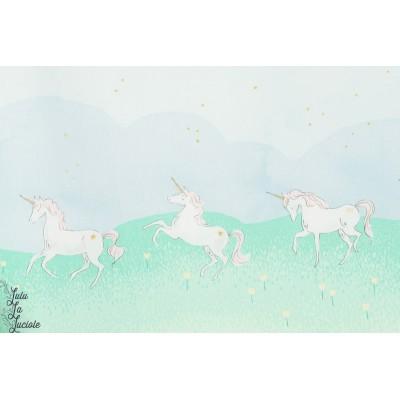 Tissu coton Popeline Unicorn Parade licorne sarah jane michael miller enfant