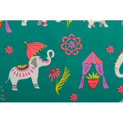 Popeline Bio Elephant Parade Mona Luna animaux inde