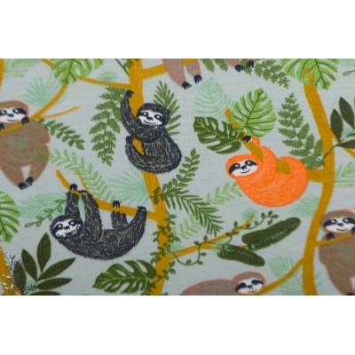 jersey happy Sloths gris/orange paresseux enfant animaux garçon poppy