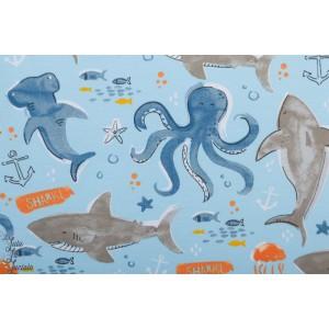Sweat Deep Sea life bleu animaux mer requin enfant poppy