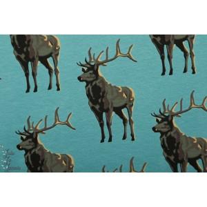 Sweat French terry SYAS Deer Trellis Bleu Soft cactus cerf animaux