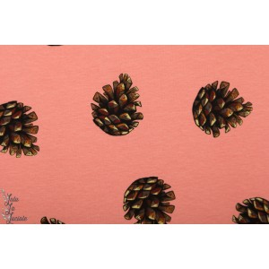 Sweat french terry SYAS Pine Cones - cameo Brownish pink