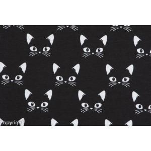 tissu Jersey Bio Chats blanc fond Noir Stenzo géométrique