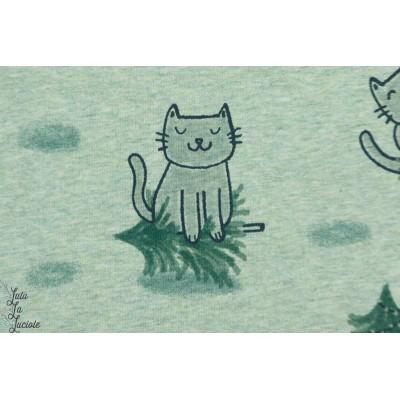 Jersey bio Crazy Cat grun chiné Lillestoff chat sapin animaux rigolo vert