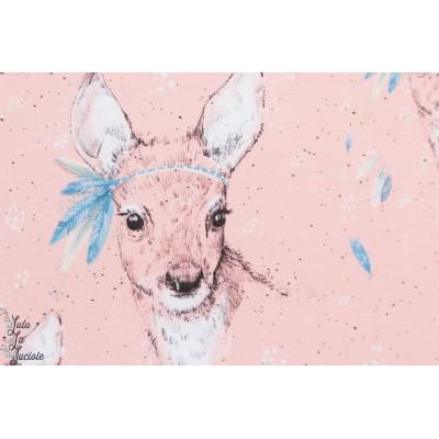Summersweat Bio Federleicht Lillestoff biche animaux bambi rose