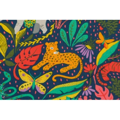 Popeline Bio its a jungle Out there animaux monaluna couleurs