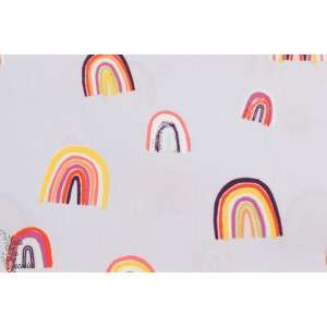 Popeline AGF Chirapa - Kushukuru - arc en ciel - rainbow - violet - vintage - retro