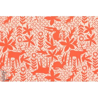 Popeline AGF Joyful Ukuphila  - kukushuru - animaux graphique orange