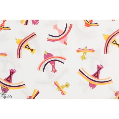 Popeline AGF Bright Indiza - Kukushuru -oiseau * arc en ciel retro vintage