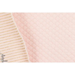 Sweat matelassé Quilt Lurex rose pastel or double face rayure