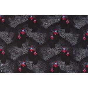 Jersey Bio KalKon by Ernst textil graphique pintade dindon poule noir animaux oiseau