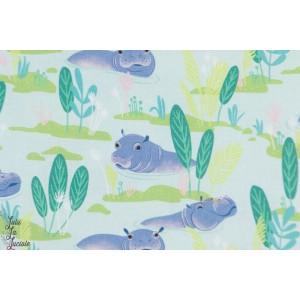 Popeline Blend Congo Hippos Bleu clair aniamux hippopotame