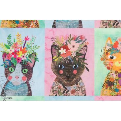 Popeline blend Floral Pet Chat animaux portrait