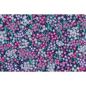 Popeline Fleuri Lac des cygnes fleur jardin violet michael miller