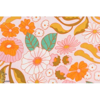 Popeline Bio Memory Lane Cloud9 retro vintage fleur orange