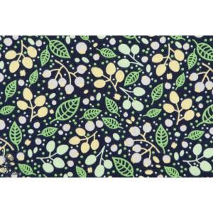 Popeline coton bio Soft Cactus Forest Treasures - M - Bleu Foncé vert