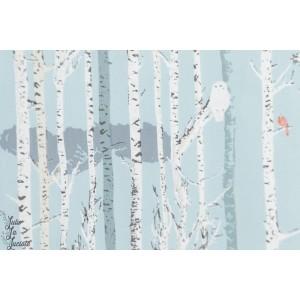 Popeline AGF Ice forestry earthen foret arbre nature bois oiseau hiver bleu