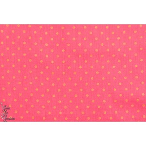 Tissu coton Crépon à Pois Pivoine rose or france duval