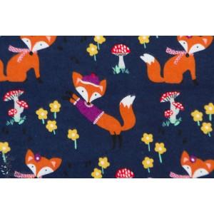 Flanelle fox Woods Navy Michael Miller renard foxy