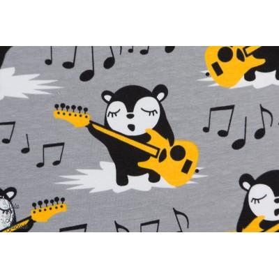 Sweat Bio Myyry The Rocker Paapii gris jaune musique guitare rock enfant