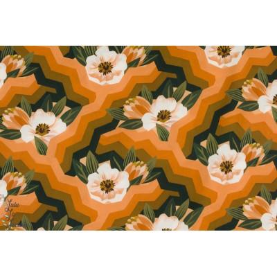 rayon Spring réverie Cloud9 mode femme retro vintage 70 fleur orange graphique