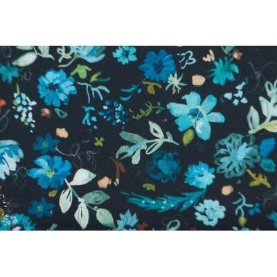 Popeline Dear Stella Windblown fleur bleu foncé nature