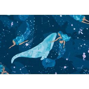 Popeline Dear Stella Imagine mer sirene baleine bleu