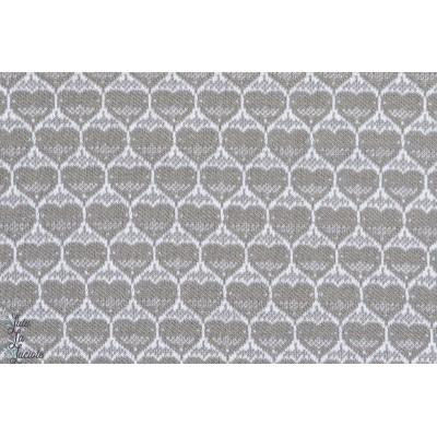 tissu coton bio Jacquard Hearts Grey, coeurs gris lillestoff susalabim