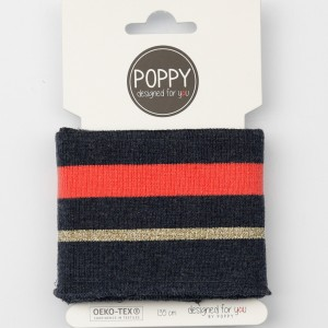 Bord cote cuff poppy 6564 lurex bleu/ rouge or