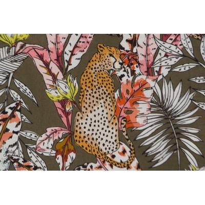 Viscose Hilco raksha panthere jungle feuillage mode femme