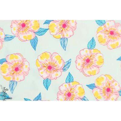 Popeline AGF Polynesian Pétals fleur ile doux pastel fille Hello sunshine