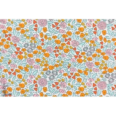 Popeline Bio Flower field Clouod9 good Vibrations fleur orange