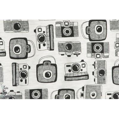 tissu Jersey Caméra fond écru chinée appareil photo