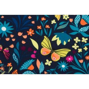 Sweat Fleurs et papillons nature bleu couleur