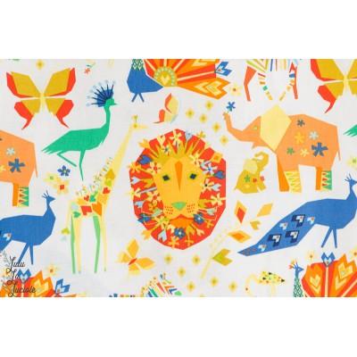 tissu coton Popeline Origami oasis animaux michael miller