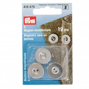Boutons magnétiques à coudre, 19mm, argenté
