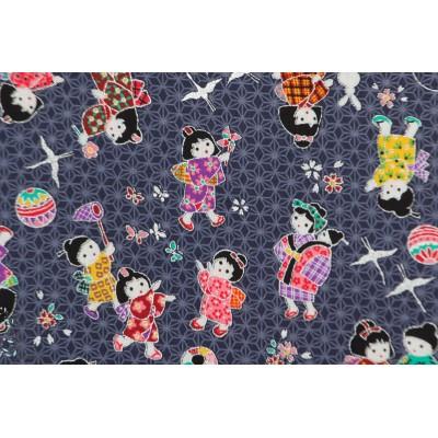 Popeline Asobu Kodomo Bleu enfants japon tissu