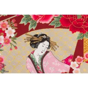 ¨Popeline Geisha sur fond rouge